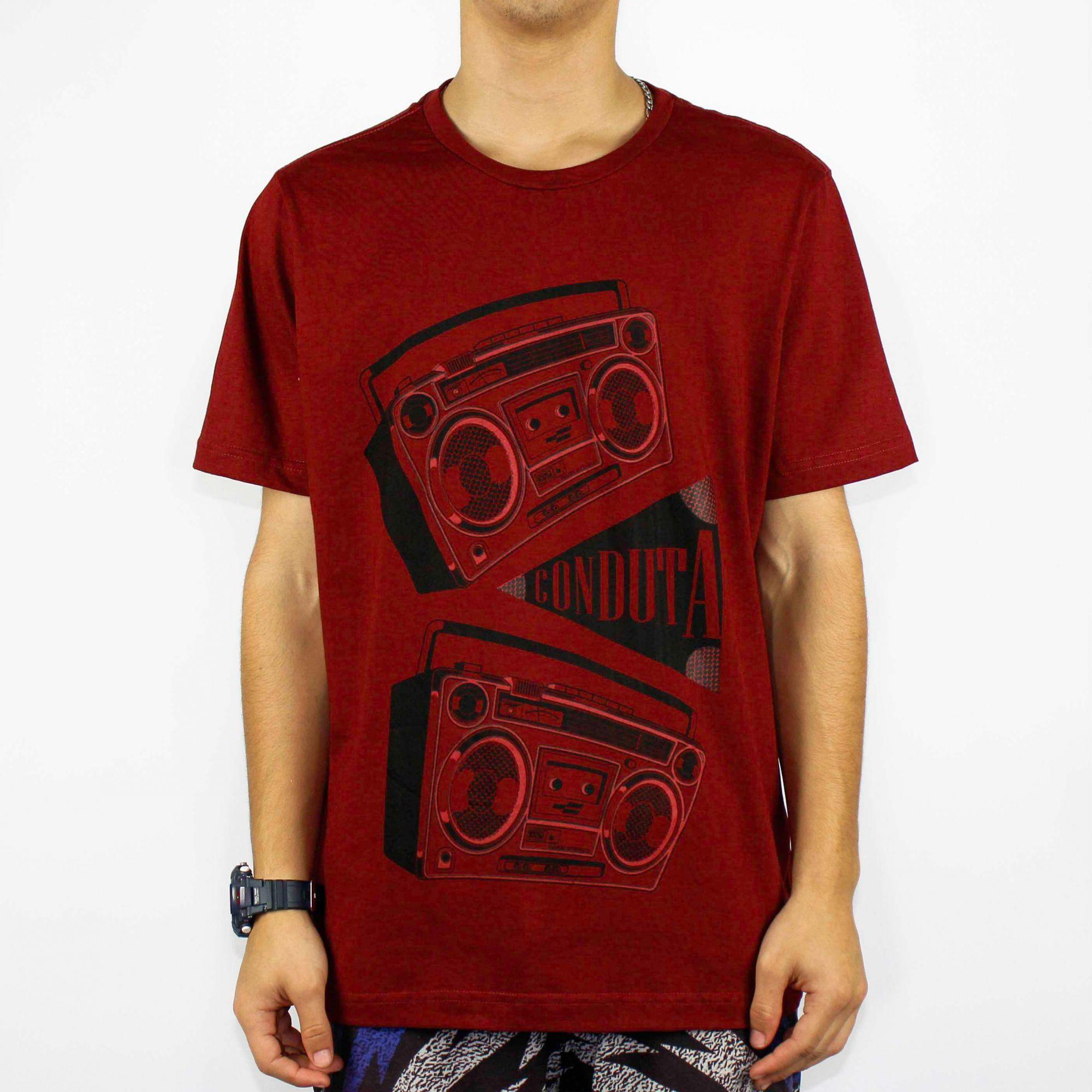 Camiseta Conduta Radio Vermelha Queimada/Preto