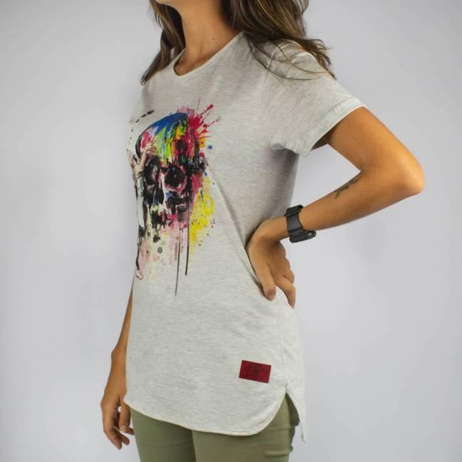 Camiseta Chemical Feminina Skull - Cinza