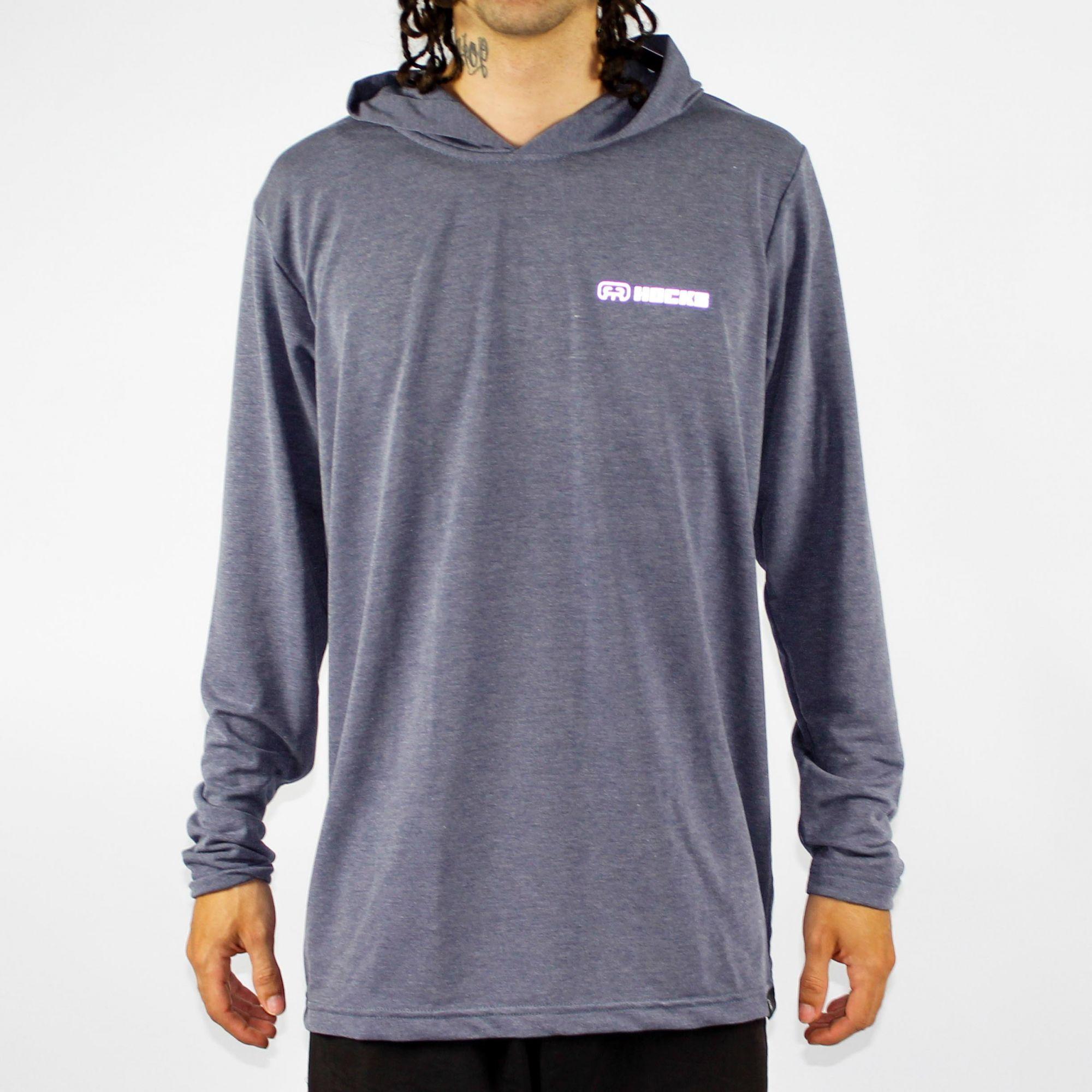 Camiseta Manga Longa Hocks Lash Cinza/Azul Marinho