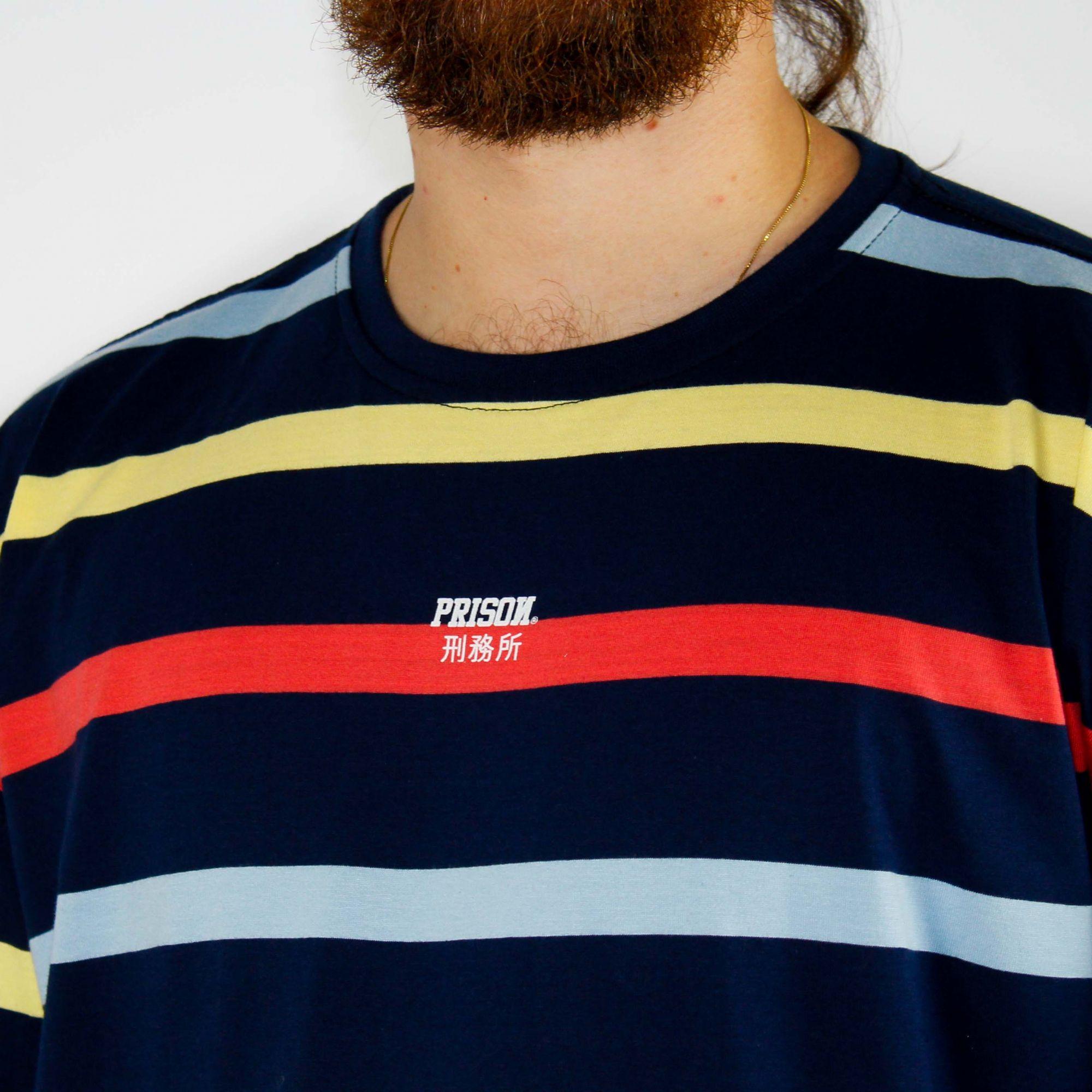 Camiseta Prison Listrada Azul/Vermelha/Amarela