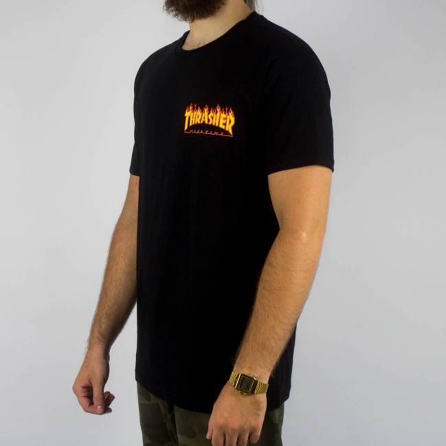 Camiseta Thrasher Mc Flame Bottom Preta