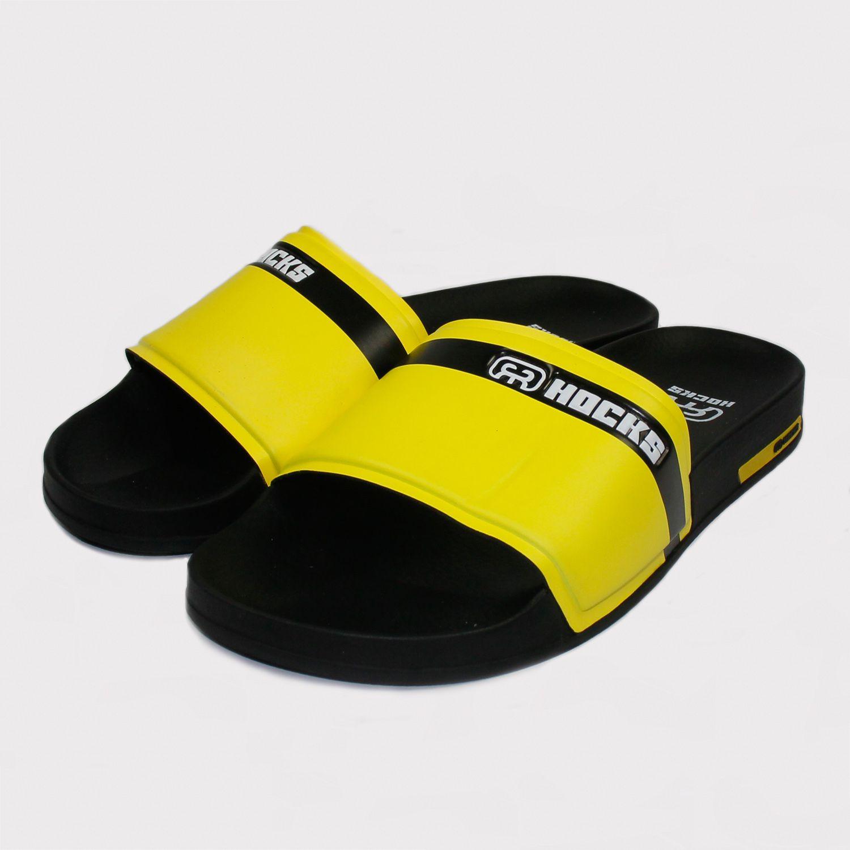Chinelo Hocks Slide Preto/Amarelo