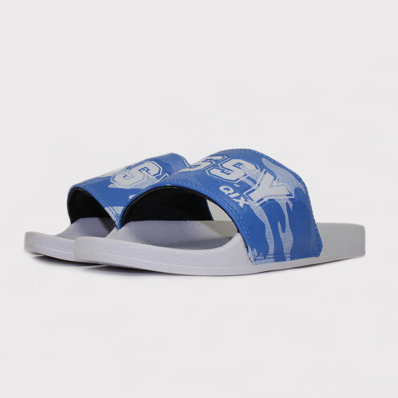 Chinelo Qix Missy Slide - Branco/Camuflado/Azul