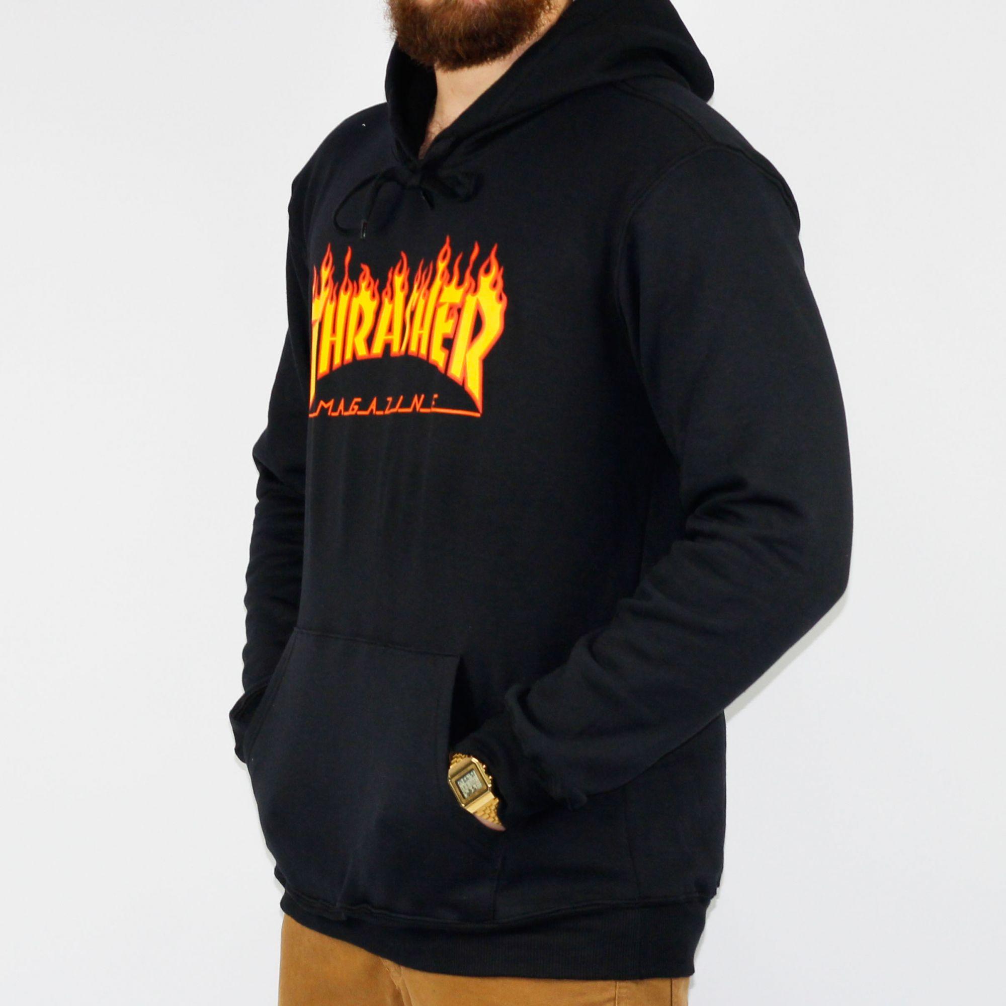 1a4e69f694 Moletom Thrasher Canguru Flame Logo Preto - Skate Shop