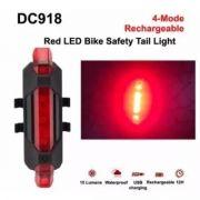 Lanterna Bike Traseiro Vermelho Recarregável - Sinalizador
