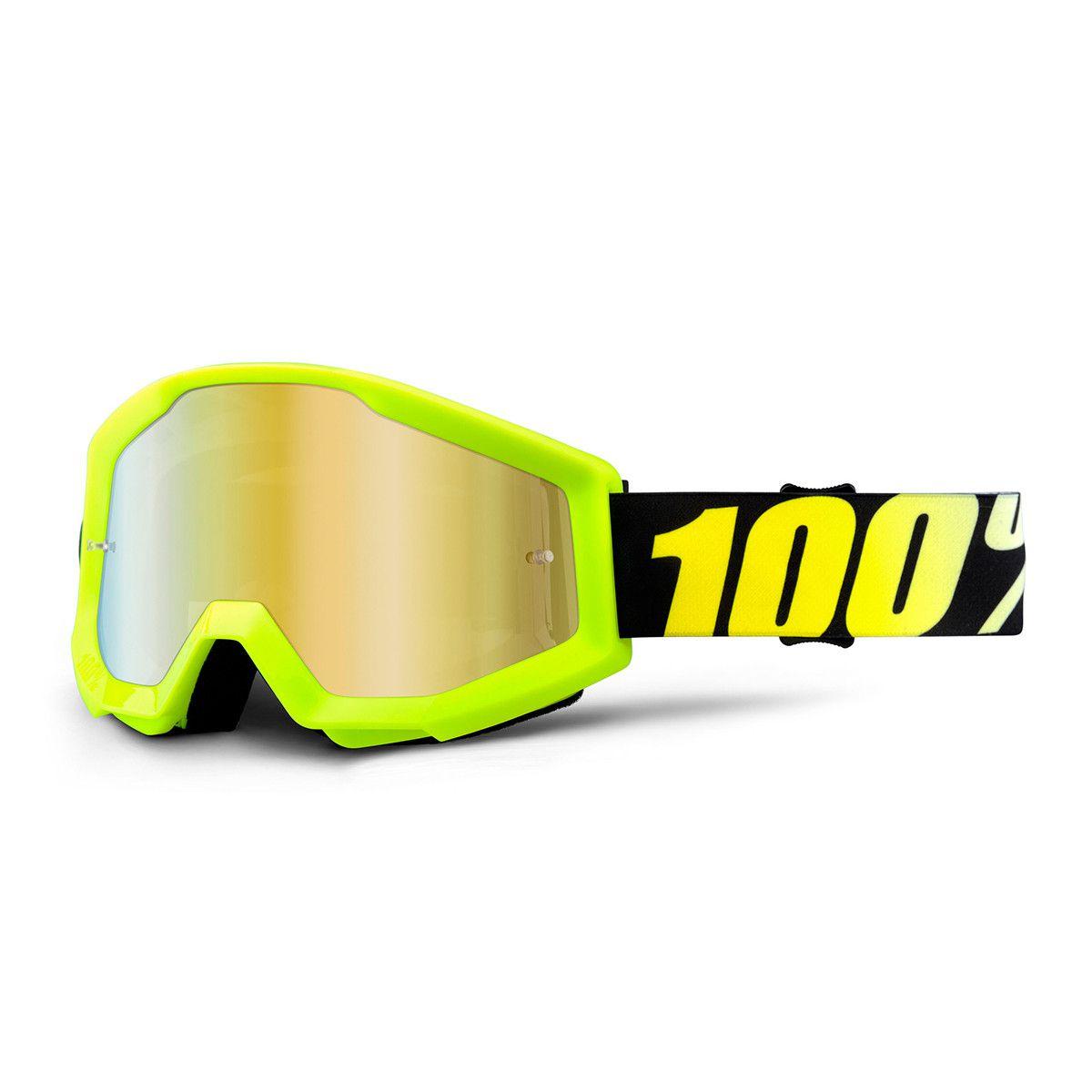 Óculos 100% Strata Neon Yellow Lente Espelhada