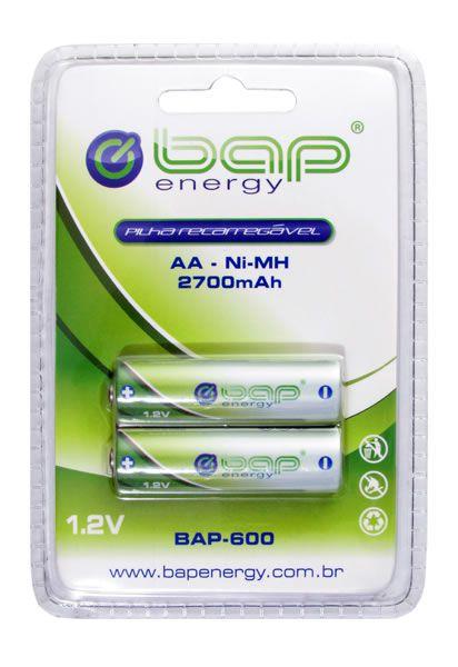 Pilha recarregável AA cartela com 2 unidades BAP 1.2v  2700 mah
