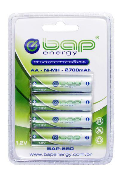 Pilha recarregável AA cartela com 4 unidades BAP 1.2v  2700 mah