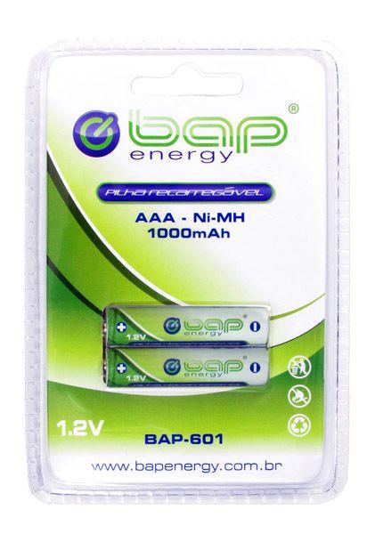 Pilha recarregável AAA cartela com 2 unidades BAP 1.2v  1000mah
