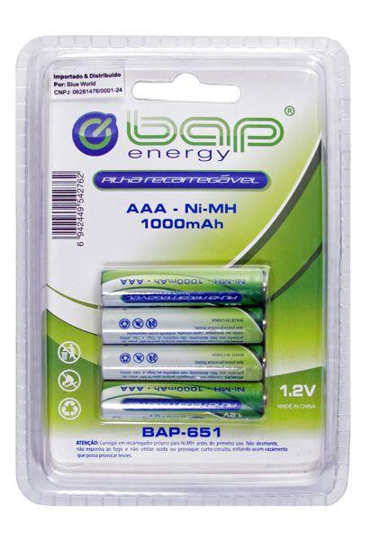 Pilha recarregável AAA cartela com 4 unidades BAP 1.2v  1000mah