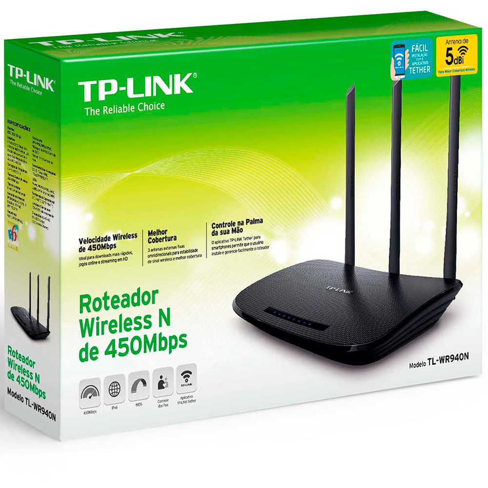 Roteador wireless 4 portas 450mbps Tp link  TL-WR940N