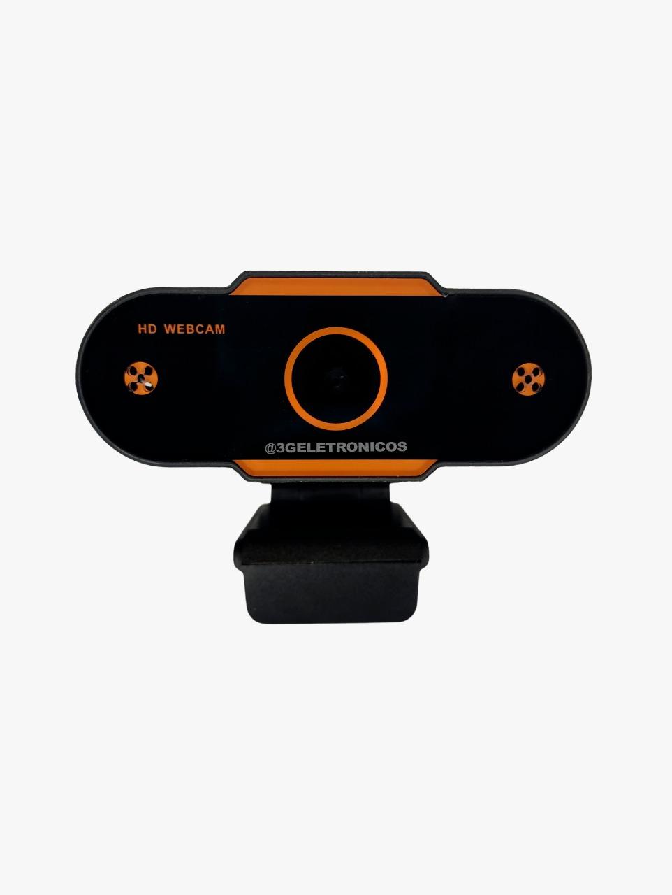 Webcam FullHD 1080P - Microfone e Redução de Ruído Desktop PC Plug & Play- Preta com detalhe laranja