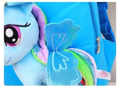 Mochila Infantil Pelúcia My Little Pony Azul Rainbow Dash Cabelo Colorido