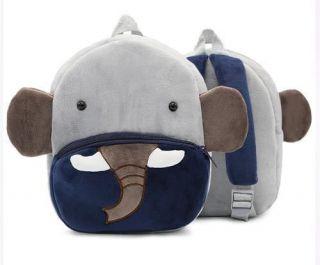 Mochila Elefante Pelucia Cinza E Azul Marinho Animal Kids
