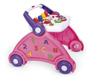 Andador Infantil Rosa Com Som De Animais Brinquedo Educativo - Poliplac