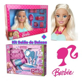 Boneca Barbie Busto + Kit Salão De Beleza Brinquedo Meninas