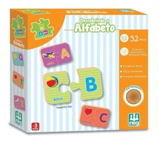 Brinquedo Educativo Descobrindo Alfabeto Madeira Pedagógico