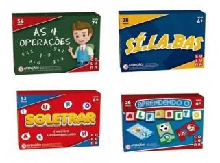 Brinquedo Educativo Kit Pedagógico 4 Jogos Alfabetização