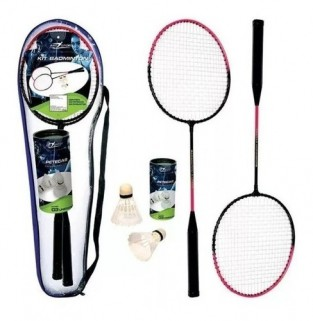 Kit Raquetes Badminton 3 Peteca Brinquedo Praia + Bolsa