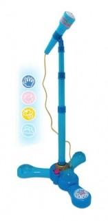 Microfone Infantil Com Pedestal Karaoke Brinquedo Menino Azul