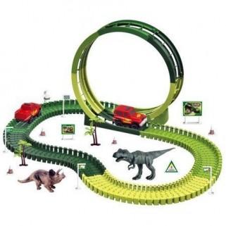 Pista de Carrinhos Trenzinho de Brinquedo com Dinossauro 172 peças