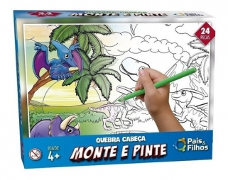Quebra Cabeça Infantil Pintura Brinquedo Educativo Dino