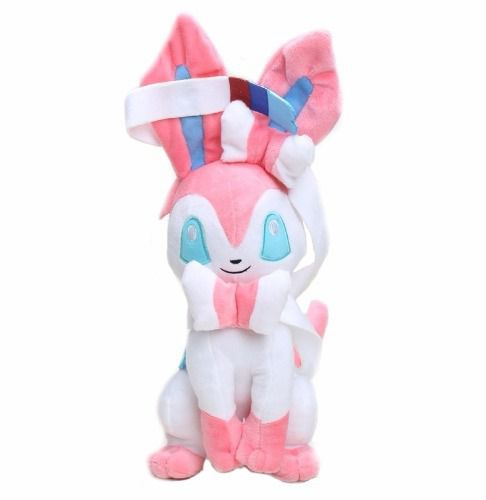 Eevee Rosa E Branco Sylveon Pelucia Brinquedo Pokemón