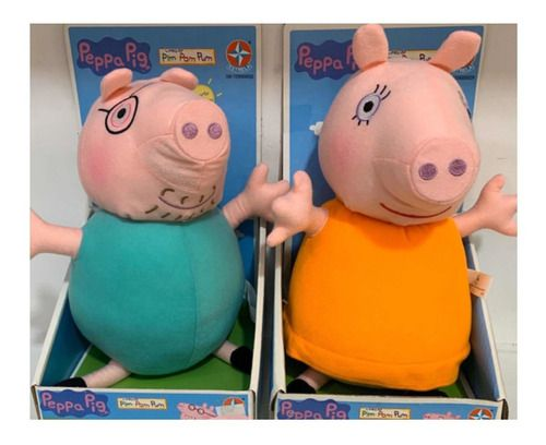 Pelúcia Mamãe Pig Vestido Laranja Boneca Peppa Brinquedo - Estrela