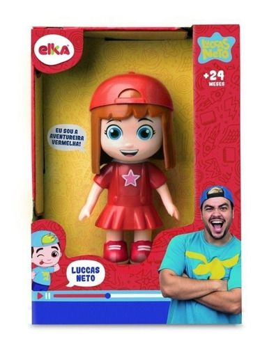 Luccas Neto E Gi Aventureira Vermelha Boneco Brinquedo Elka