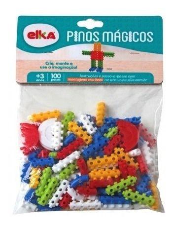 Brinquedo Educativo Pinos Mágicos 100 Peças Bloco Montar - Elka
