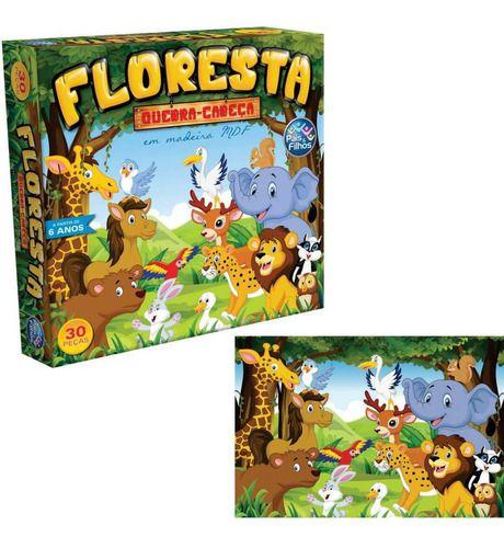 Quebra Cabeça Infantil Floresta Animais 30 Pçs - Mdf