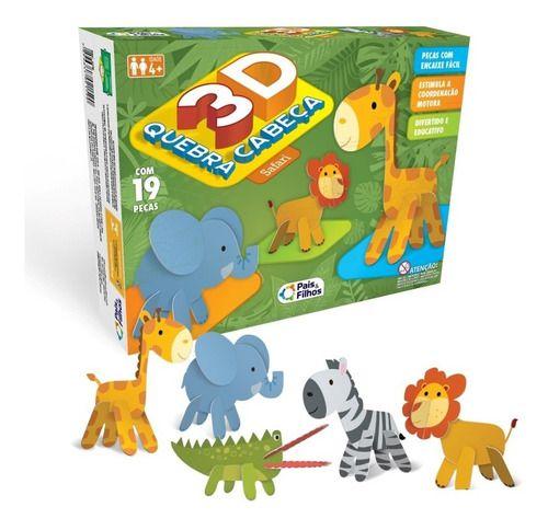 Quebra Cabeça 3 D Infantil Safari Brinquedos Crianças 19 Pç