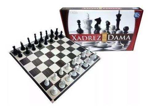 Jogo Xadrez e Dama 2 Em 1- Tabuleiro 32 Pecas E Dama 24 Pç