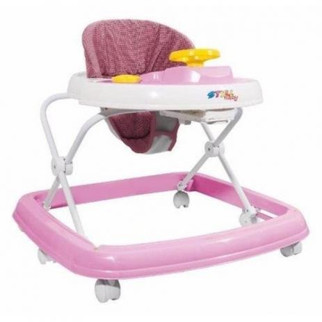 Andador infantil Rosa Branco Carrinho e Volante - Styll Baby