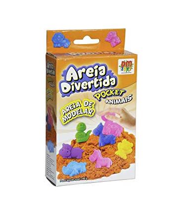 Areia De Modelar Divertida Pocket com Moldes e espátula animais