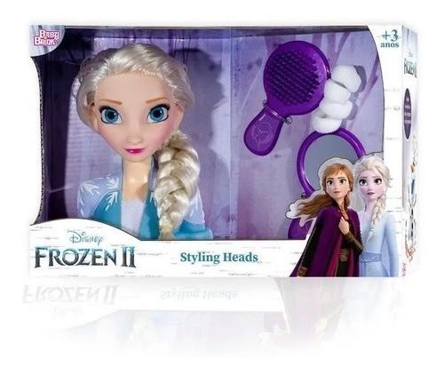 Boneca Elsa Frozen Brinquedo Busto Styling Heads