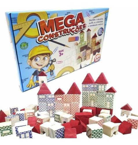 Brinquedo Blocos Montar Madeira Mega Construções 200 Peças