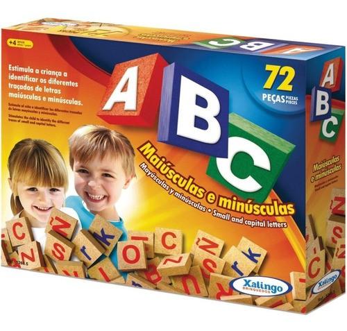 Brinquedo Pedagógico Madeira Alfabeto Abc Letras 72 Peças