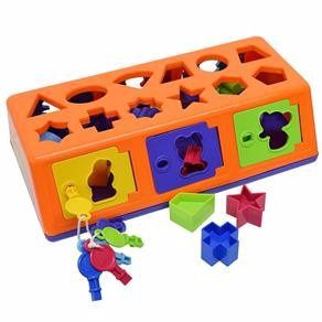 Caixa Encaixa Estrela Porta Com Chave E Formas Geométricas