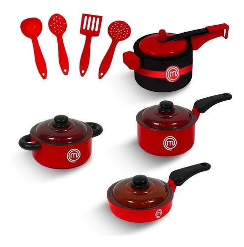 Conjunto Panelinhas De Brinquedo Master Chef Junior Vermelha