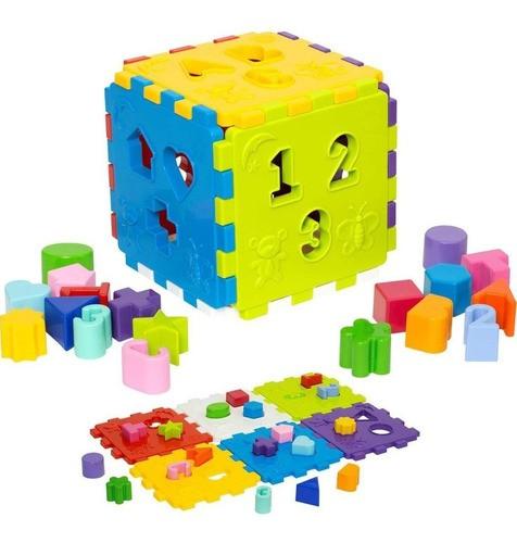 Cubo Didático Colorido Blocos Encaixar Brinquedo Educativo - Mercotoys