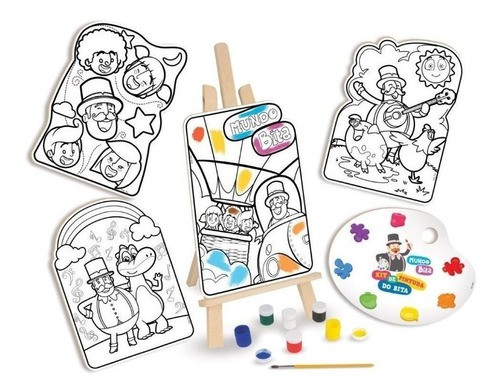 Kit De Pintura Mundo Bita Brinquedo Madeira Cavalete