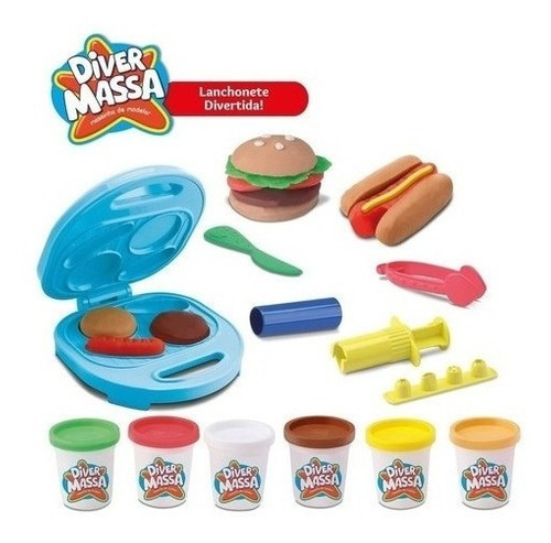 Massinha De Modelar Lanchonete Hambúrguer Brinquedo Diver
