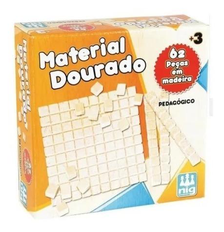 Material Dourado Brinquedo Montessoriano Matematica 62 peças