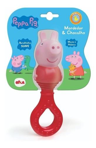 Mordedor e Chocalho Peppa Pig Para Bebê Brinquedo Elka