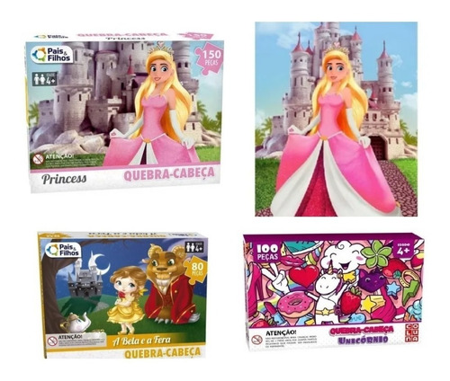 Quebra Cabeça Infantil Princesas Kit 3 Unicórnio Brinquedo