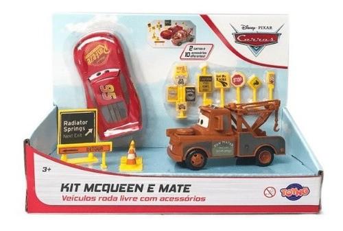 Relâmpago Mcqueen E Mate Carrinho Carros Kit Acessórios