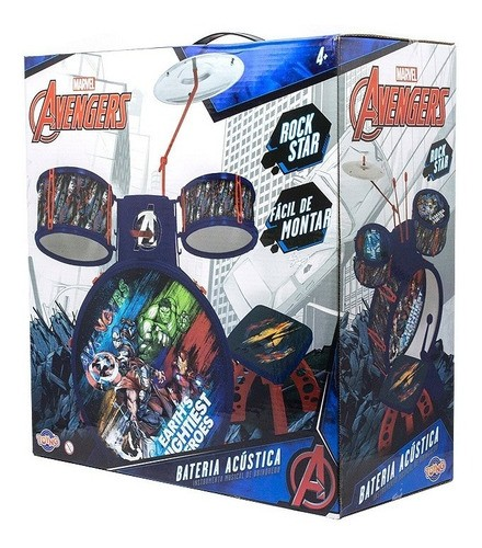 Bateria Infantil Musical De Brinquedo Vingadores Marvel