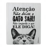 Placa Adesiva Decorativa CatMyPet Não deixe o gato sair