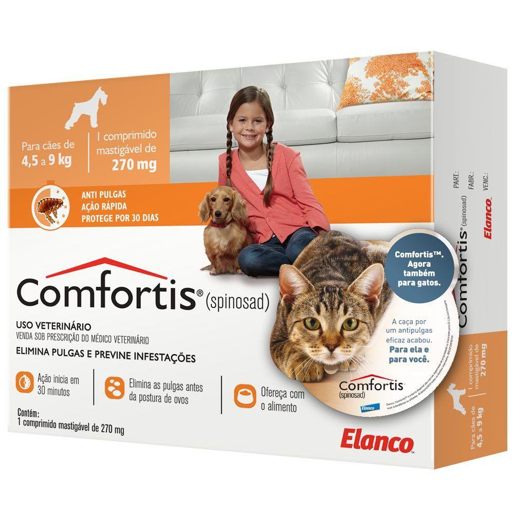 Antipulgas Comfortis 270mg Cão 4,5a9kg Gato 2,8a5,4kg 1 unid